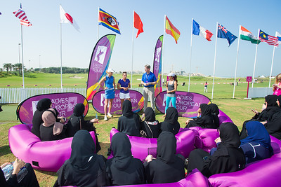 Olafia Kristinsdottir of Iceland and Agathe Sauzon of France talk to local women about golf, their fitness regeimes and much more
