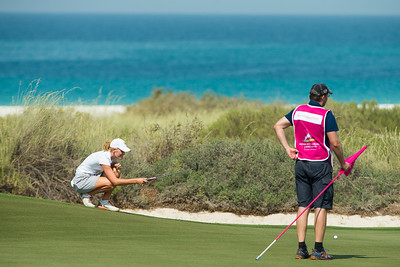 Olafia Kristinsdottir of Iceland lines up a putt on the 17th hole during the first round