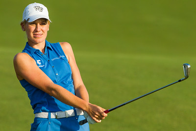 Olafia Kristinsdottir of Iceland watches her second shot on the 4the holeduring the second round