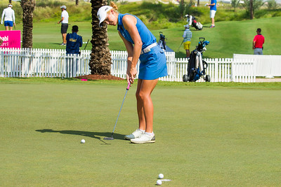 Overnight leader Olafia Kristinsdottir from Iceland practices ahead of her second round