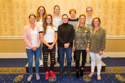 The LET team, Florentyna Parker, Olafia Kristinsdottir, Felicity Johnson, Melissa Reid, Lee-Anne Pace, Annabel Dimmock, Gwladys Nocera, Carly Booth and Holly Clyburn pose for a team photograph during the welcome reception