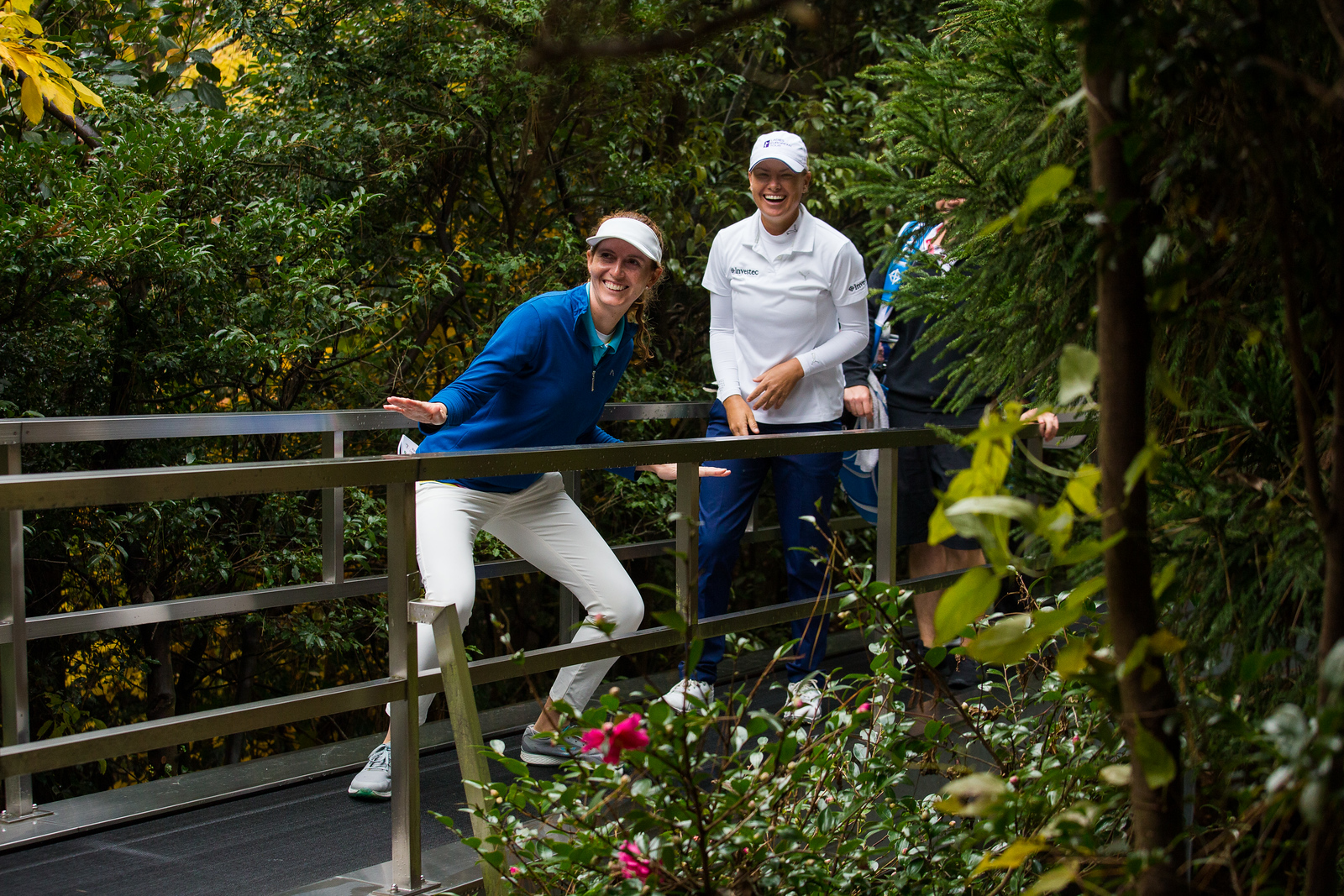 Florentyna Parker of England strikes a pose on the travellator by the 13th green during a practice round