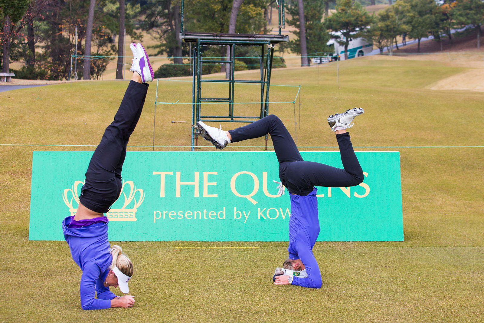 Olafia Kristinsdottir and Carly Booth practice thier gymnastics during a practice round