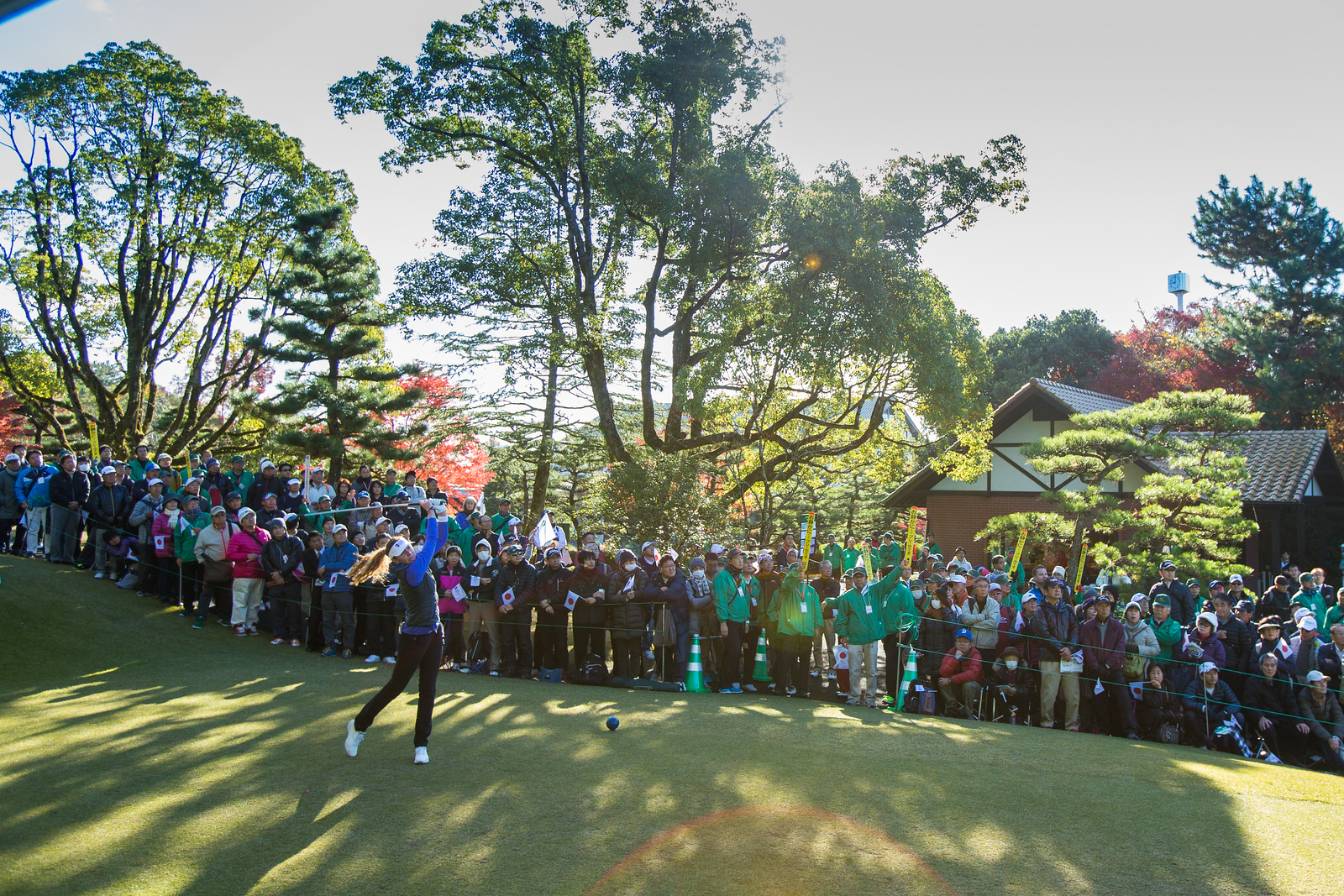 Florentyna Parker of England tees off during the Friday four-balls