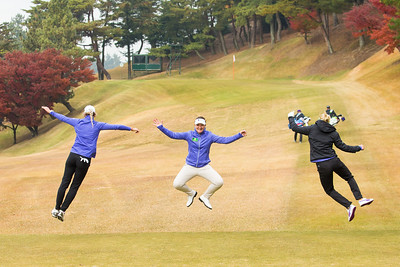 Olafia Kristinsdottir and Carly Booth jump in the air with LET team captain, Gwladys Noera joining in the fun during a practice round