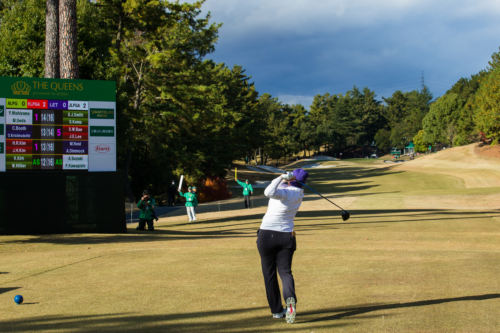 Felicity Johnson of England during the Friday four-balls