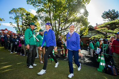 Olafia Kristinsdottir and Carly Booth walk onto the first tee  during the Friday fourballs