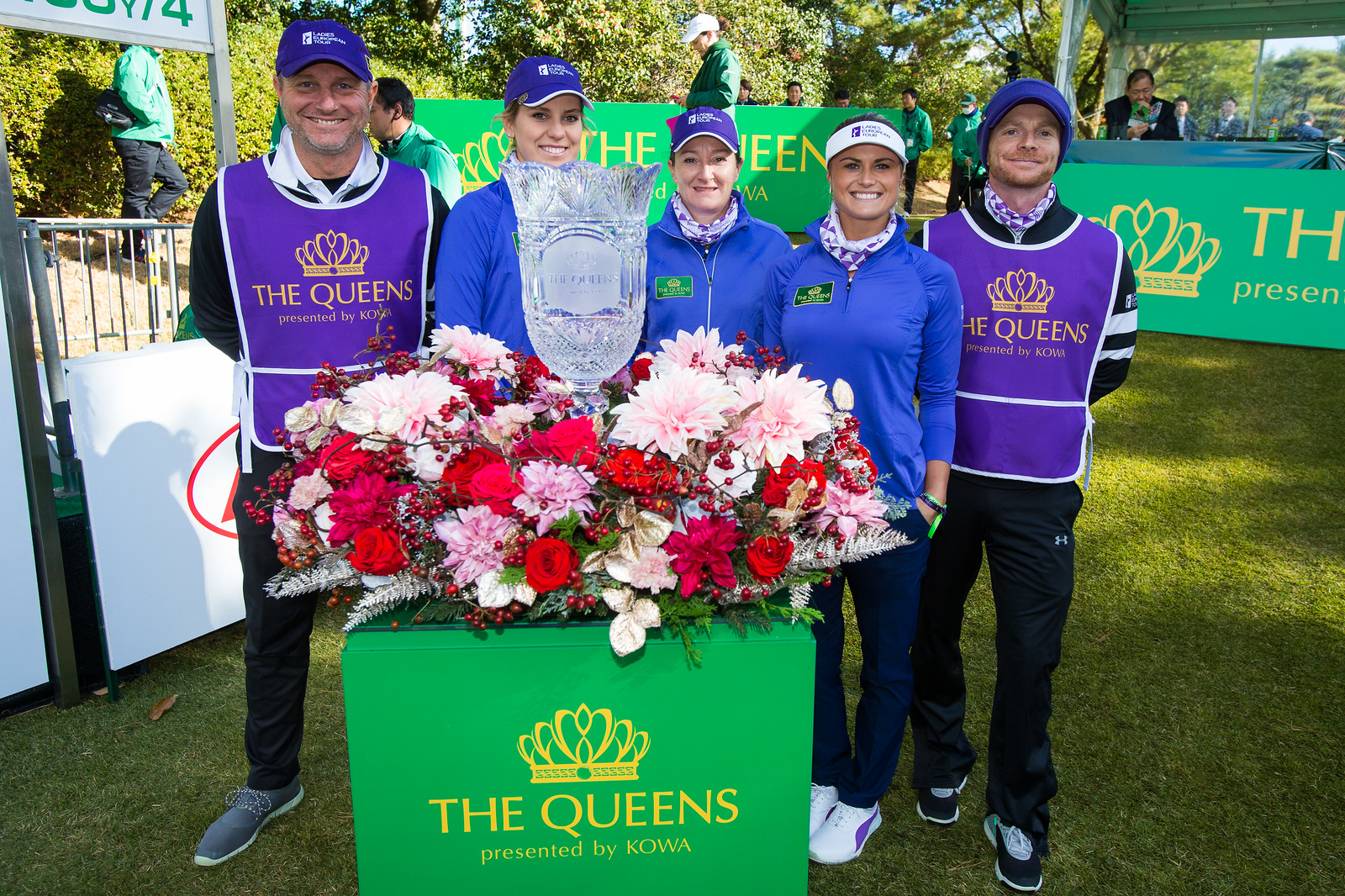 Olafia Kristinsdottir and Carly Booth with Gwladys Nocera on teh first tee during the Friday fourballs