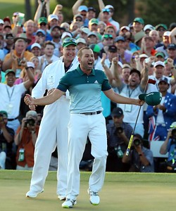 09-04-17 European Tour 2017, The Masters Tournament, Augusta National GC, Augusta, Georgia, USA. 06-09 Apr. Sergio  Garcia of Spain celebrates with his caddie Mark Fulcher as he reacts after winning the green jacket of a Masters champion following a one-hole playoff. Both he and Justin Rose finished their rounds at nine-under, forcing the playoff.  during the final round. # NO AGENTS #