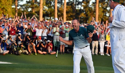 09-04-17 European Tour 2017, The Masters Tournament, Augusta National GC, Augusta, Georgia, USA. 06-09 Apr. Sergio  Garcia of Spain celebrates after winning the green jacket following a one-hole playoff win against Justin Rose after both finished their rounds at nine-under, forcing the playoff during the final round. # NO AGENTS #