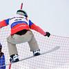 VEYSONNAZ, SWITZERLAND - JANUARY 21: Finalist Pierce Smith (CAN) at the  FIS World Championship Snowboard Cross finals : January 21, 2012 in Veysonnaz Switzerland