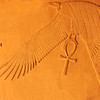 Magnificent ancient egyptian carving in pure sandstone of a vulture bearing the ankh of life.  The vulture (royal protector) is bringing the gift of life.