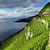 Light and Dark play on Lake Geneva and the UNESCO listed vinyards of Lavaux, near Montreux in Switzerland