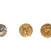 Gold and silver coins from the reign of the roman emperor Augustus the first roman emperor.