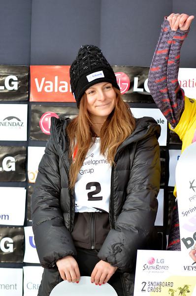 VEYSONNAZ, SWITZERLAND - JANUARY 19: 2nd place Maeli Jekova (Bul) at the FIS World Championship Snowboard Cross finals : January 19, 2012 in Veysonnaz Switzerland
