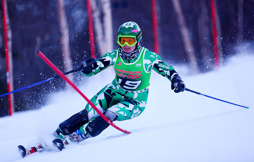 Photo Credit: Lincoln Benedict/EISA<br /> <br /> Dartmouth's Christine Roberts skis her second run of Slalom at Sunday River in Maine during the Bates Carnival to win the event.