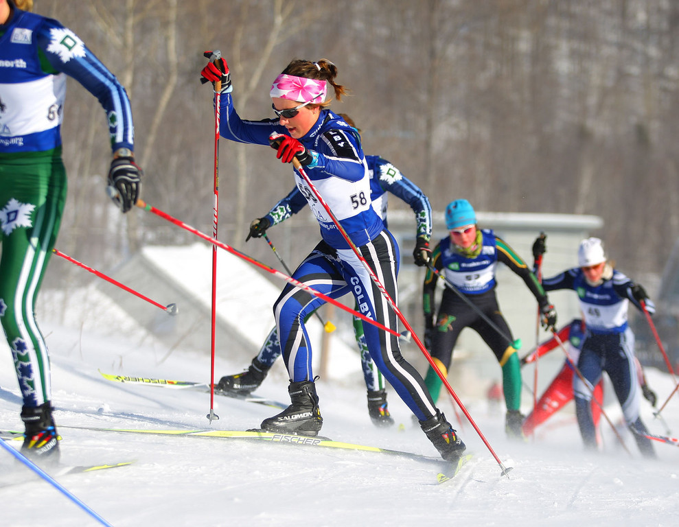Photo Credit: Lincoln Benedict/EISA<br /> <br /> Colby Freshman Lucy Garrec kept behind the leaders until the end of the race where she took an eight second lead over UVM's Caitlin Patterson.
