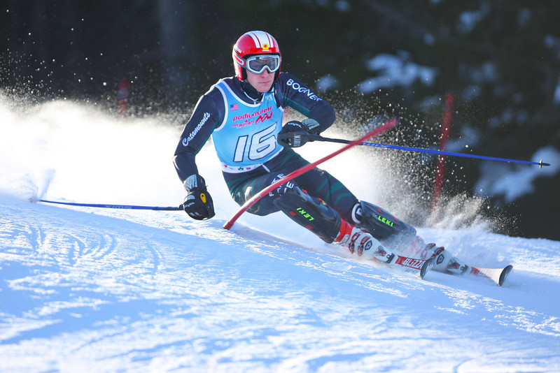Photo Credit: Lincoln Benedict/EISA<br /> <br /> University of Vermont's David Donaldson skis to victory on Saturday's Slalom at the Bates Carnival at Sunday River in Maine.