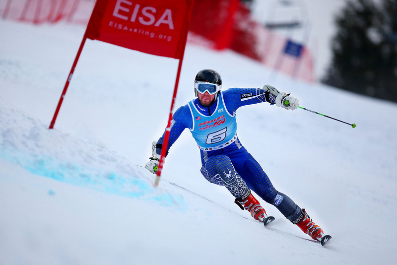 Credit: Lincoln Benedict / EISA<br /> <br /> William Ford takes first place during the Men's Giant Slalom at Attitash on Friday.