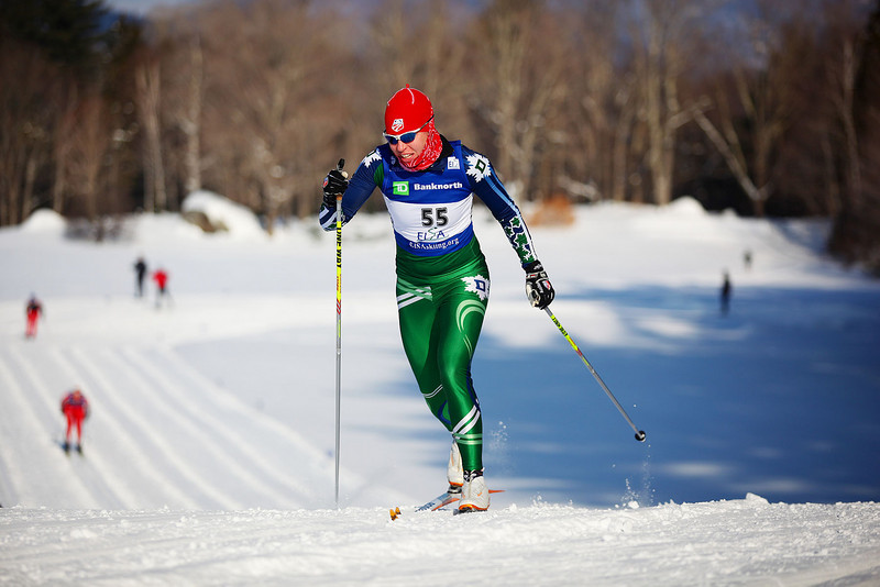 Credit: Lincoln Benedict / EISA<br /> <br /> Dartmouth's Rose Brennan takes first place at the Nordic Classic Sprints at Jackson XC center.