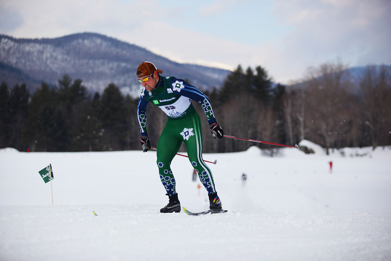 Credit: Lincoln Benedict/ EISA<br /> <br /> Dartmouth's Dakota Blackhorse-Von Jess takes first place at the Nordic Classic Sprints at Jackson XC center.