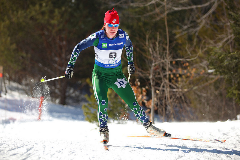 Credit: Lincoln Benedict / EISA<br /> <br /> Dartmouth's Rose Brennan skates her way to victory on Saturday's Woman's Freestyle race at Jackson XC center during the University of New Hampshire's Winter Carnival.