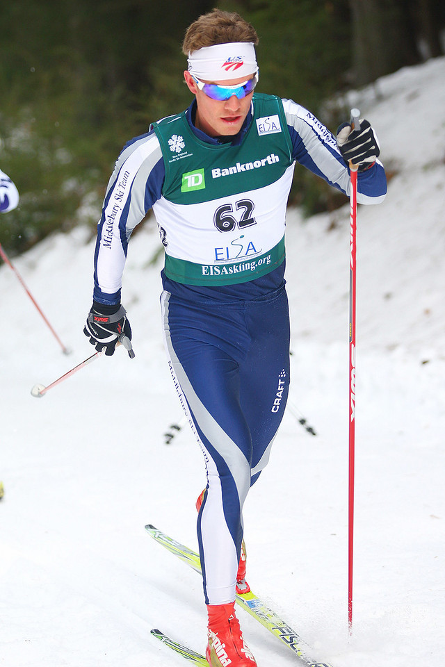 Photo Credit: Lincoln Benedict/EISA<br /> <br /> Middlebury skier Simeon Hamilton skis his way to a first place finish at the men's 10 Classic event on the first day of the Dartmouth Carnival.