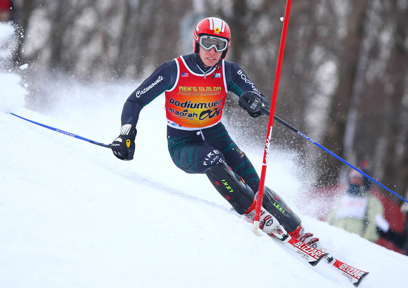 Photo Credit: Lincoln Benedict / EISA<br /> <br /> David Donaldson takes the second run of slalom for the overall victory at the 2009 Middlebury Carnival.