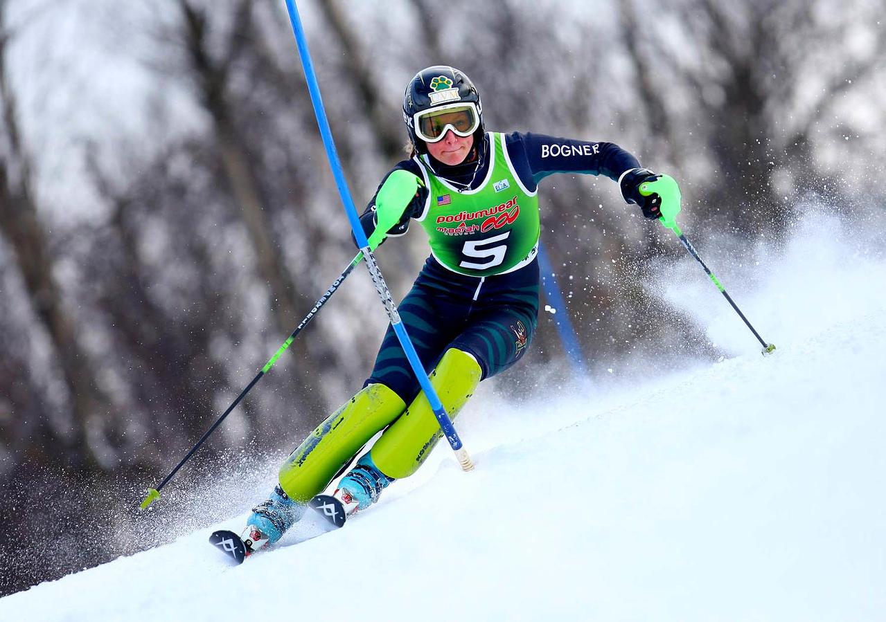 Photo Credit: Lincoln Benedict / EISA<br /> <br /> Megan Ryley skis to victory on the second run of Slalom at the 2009 Middlebury Carnival.