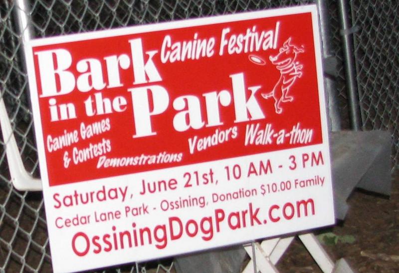 bark in park sign