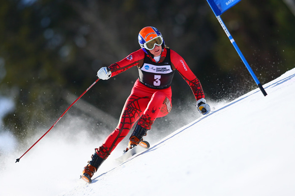 Photo Credit: Lincoln Benedict<br /> <br /> Lindsay Cone winning the 2009 NCAA Championship Giant Slalom at Sunday River in Maine, hosted by Bates College.