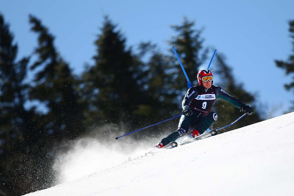 Photo Credit: Lincoln Benedict<br /> <br /> David Donaldson winning the 2009 NCAA Championship Giant Slalom at Sunday River in Maine, hosted by Bates College.