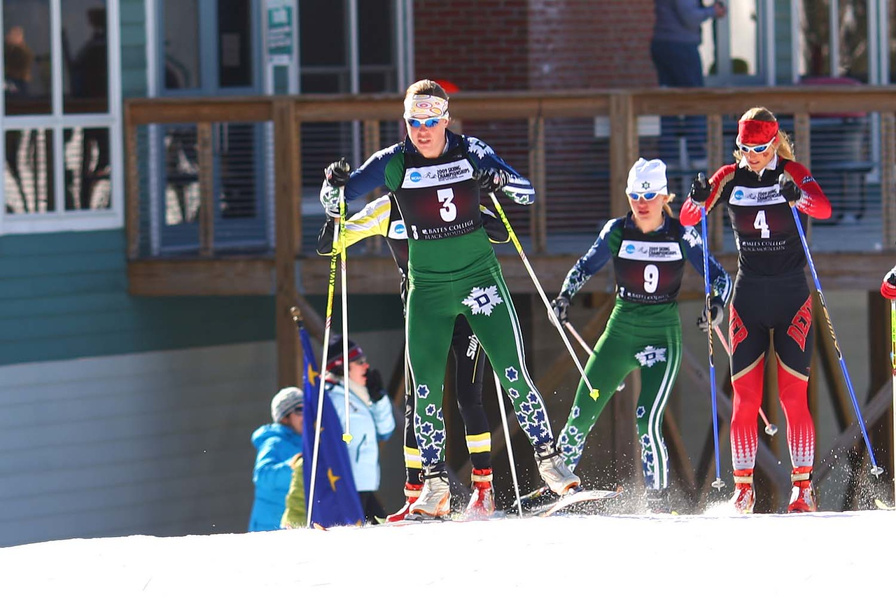 Photo Credit: Lincoln Benedict<br /> Rosie Brennan of Dartmouth races to third place in Saturday's final NCAA Championship race at Black Mountain in Rumford, Maine.