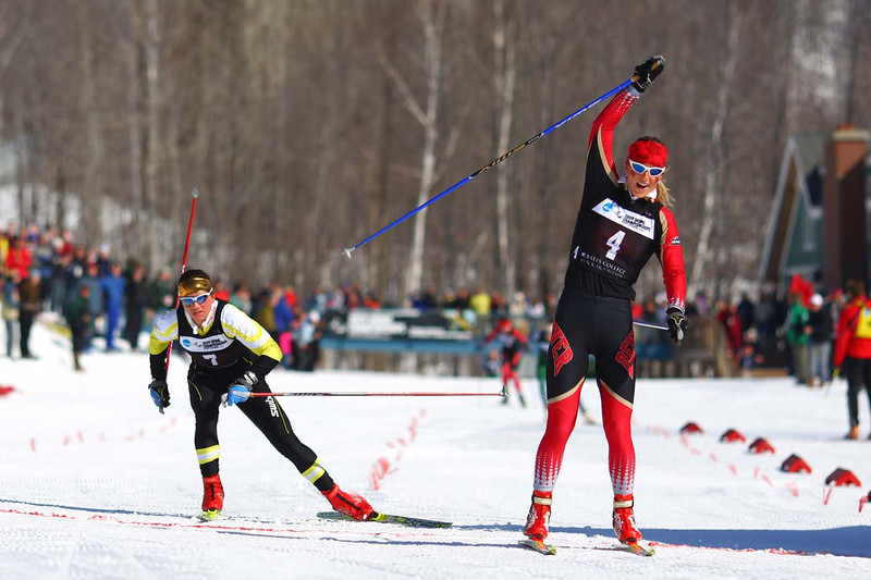 Photo Credit: Lincoln Benedict<br /> <br /> Antje Maempel of the University of Denver slides into the finish just ahead of University of Colorado skier Alexa Turzian to claim first place