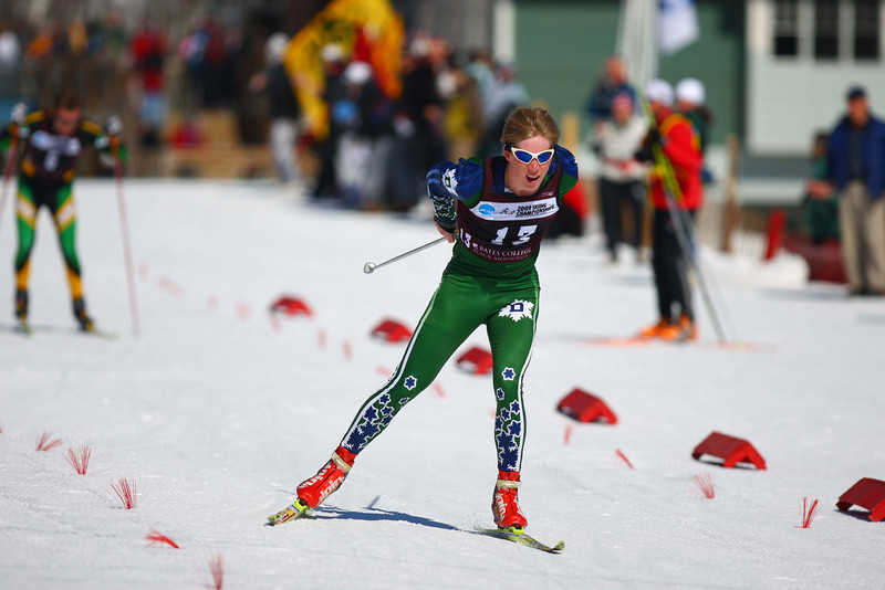 Photo Credit: Lincoln Benedict<br /> <br /> Dartmouth skier Patrick O'Brien skis his way to a seventh place finish at the NCAA championships at Black Mountain in Rumford, Maine. O'Brien was the first Men's finisher from an eastern school.