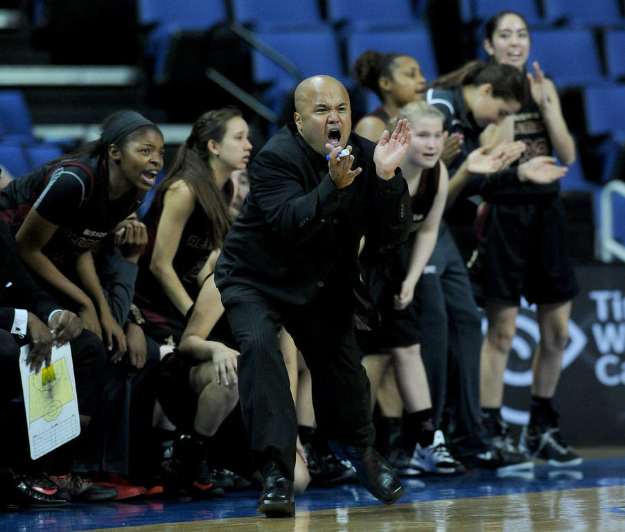 . Alemany Coach Bryan Camacho motivates his team during the second half. Canyon Springs defeated Alemany 66-51 in the Girls Division I Final game played at Citizens Bank in Ontario, CA. March 22, 2014 (Photo by John McCoy / Los Angeles Daily News)