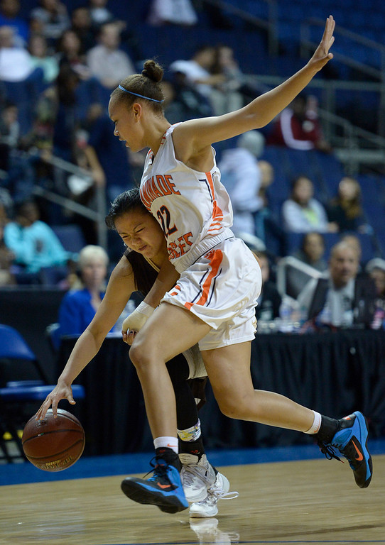. West#21 Kayla Sato runs into Chaminade#22 Valerie Higgins. Chaminade defeated West High School 67-50 in the Girls Division II Final game played at Citizens Bank in Ontario, CA. March 22, 2014 (Photo by John McCoy / Los Angeles Daily News)