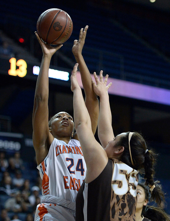 . Chaminade#24 Devin Stanback shoots over West#55 Kylie Fujioka. Chaminade defeated West High School 67-50 in the Girls Division II Final game played at Citizens Bank in Ontario, CA. March 22, 2014 (Photo by John McCoy / Los Angeles Daily News)