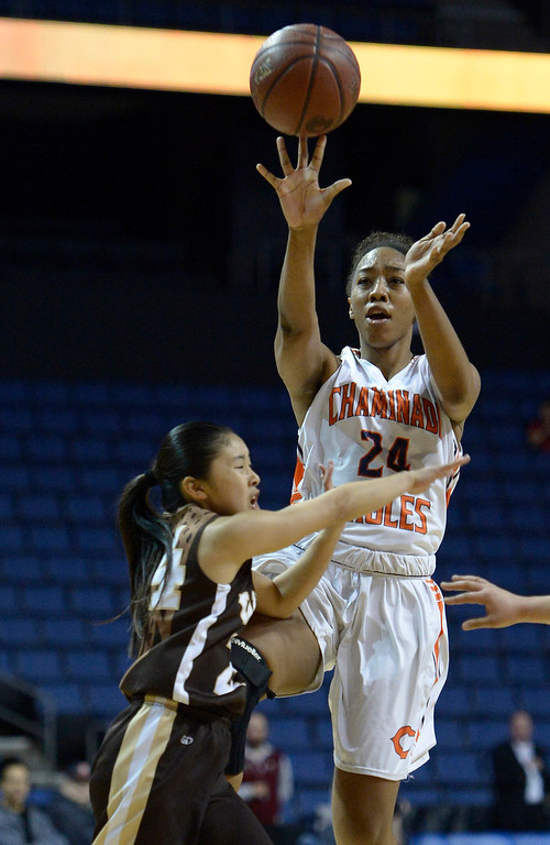 . Chaminade#24 Devin Stanback is fouled by West#24 Bailey Kurahashi at the end of the first half. Chaminade defeated West High School 67-50 in the Girls Division II Final game played at Citizens Bank in Ontario, CA. March 22, 2014 (Photo by John McCoy / Los Angeles Daily News)