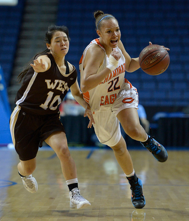. West#10 Kayli Imoto runs after Chaminade#22 Valerie Higgins. Chaminade defeated West High School 67-50 in the Girls Division II Final game played at Citizens Bank in Ontario, CA. March 22, 2014 (Photo by John McCoy / Los Angeles Daily News)