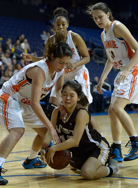 . West#10 Kayli Imoto goes to the floor to pull a rebound away from Chaminade defenders. Chaminade defeated West High School 67-50 in the Girls Division II Final game played at Citizens Bank in Ontario, CA. March 22, 2014 (Photo by John McCoy / Los Angeles Daily News)