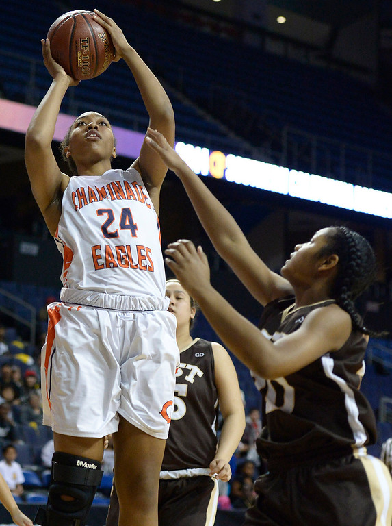 . Chaminade#24 Devin Stanback takes a shot over West#20 Jasmine Jones in the first half. Chaminade defeated West High School 67-50 in the Girls Division II Final game played at Citizens Bank in Ontario, CA. March 22, 2014 (Photo by John McCoy / Los Angeles Daily News)