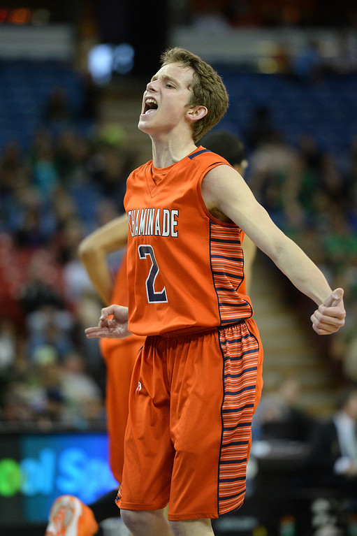 . Chaminade\'s Daniel Holcomb reacts after sinking a three-pointer against Sir Francis Drake. (Photo by Michael Owen Baker/L.A. Daily News)