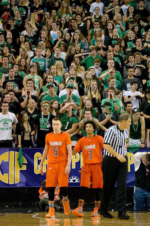. A large contingent of Sir Francis Drake fans yell at Chaminade\'s Max Tinsley and Justin Eisen. (Photo by Michael Owen Baker/L.A. Daily News)