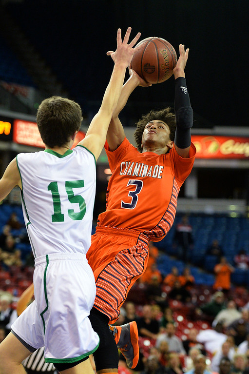 . Chaminade\'s Justin Eisen shoots a runner over Sir Francis Drake\'s Sam Dines in the CIF-State Division III Finals. (Photo by Michael Owen Baker/L.A. Daily News)