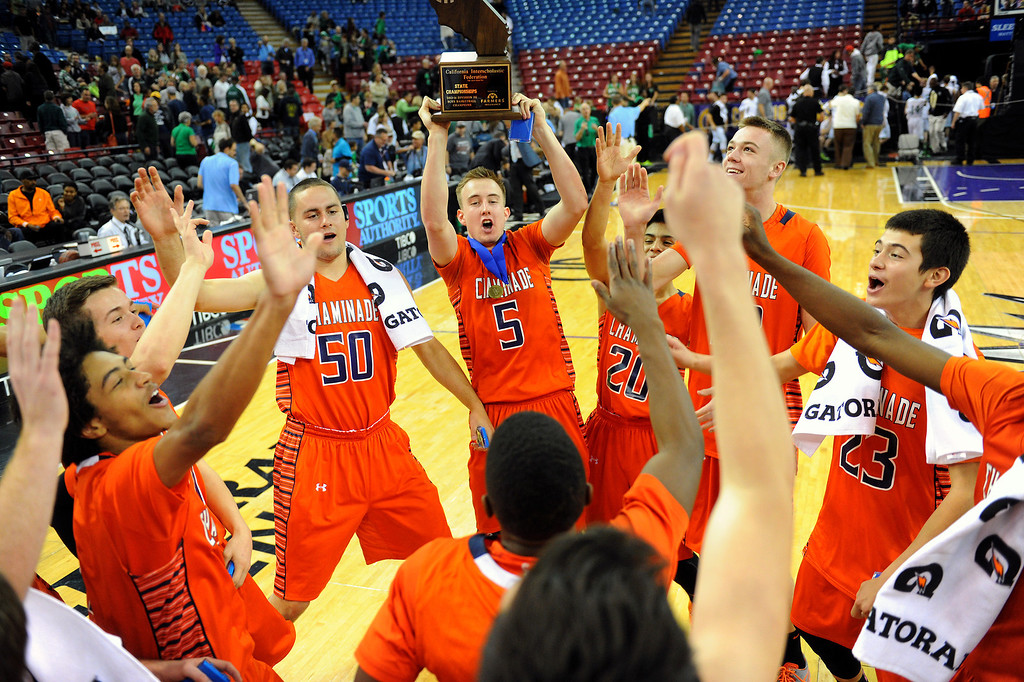 . Chaminade celebrates beating Sir Francis Drake 71-51 in the CIF-State Division III Finals, Friday, March 28, 2014, in Sacramento. (Photo by Michael Owen Baker/L.A. Daily News)