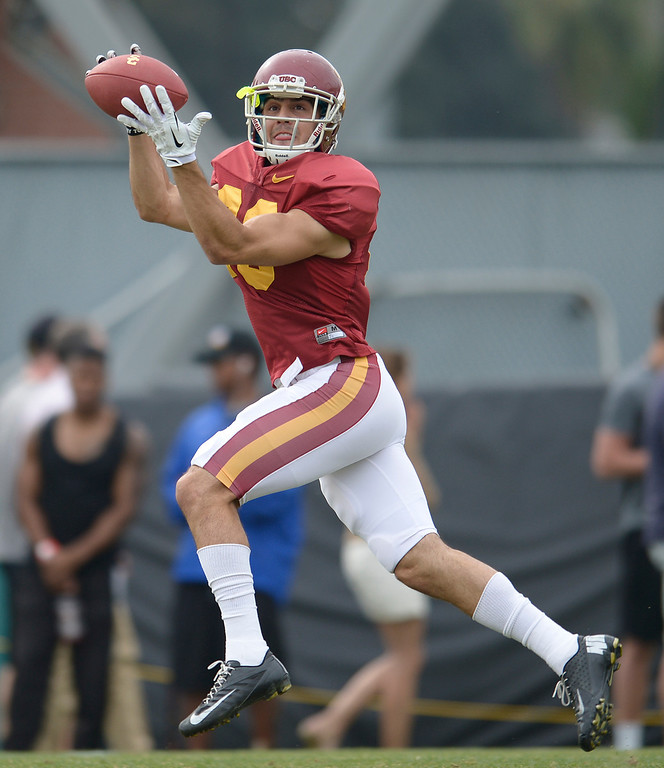 . George Katrib catches the ball. The coaches at USC are running the Trojans through their paces with spring practices on the school campus. Los Angeles, CA. 4/10/2014(Photo by John McCoy / Los Angeles Daily News)