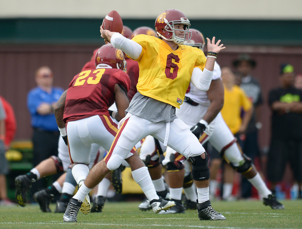 . QB Cody Kessler. The coaches at USC are running the Trojans through their paces with spring practices on the school campus. Los Angeles, CA. 4/10/2014(Photo by John McCoy / Los Angeles Daily News)