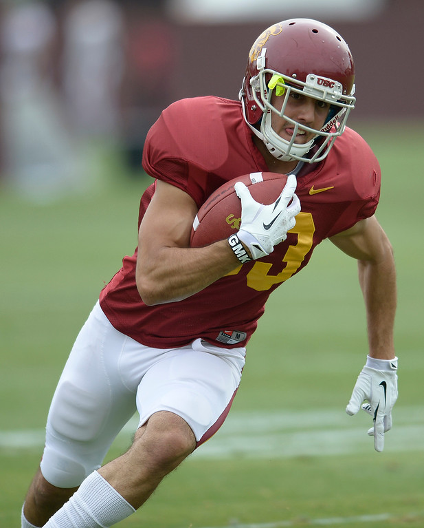 . George Katrib runs for yards after a catch. The coaches at USC are running the Trojans through their paces with spring practices on the school campus. Los Angeles, CA. 4/10/2014(Photo by John McCoy / Los Angeles Daily News)