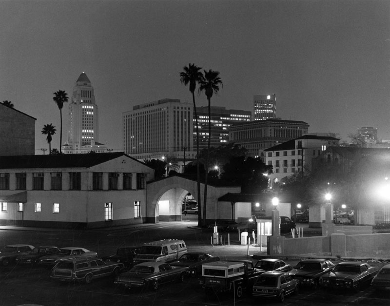 . Looking west from Union Station towards the skyline of the Los Angeles Civic Center. (1980)   (Los Angeles Public Library)